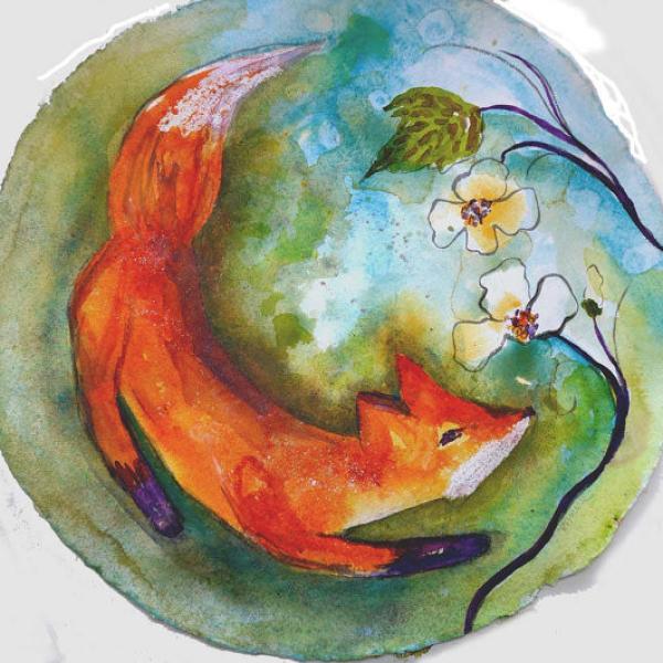 fox kids room art